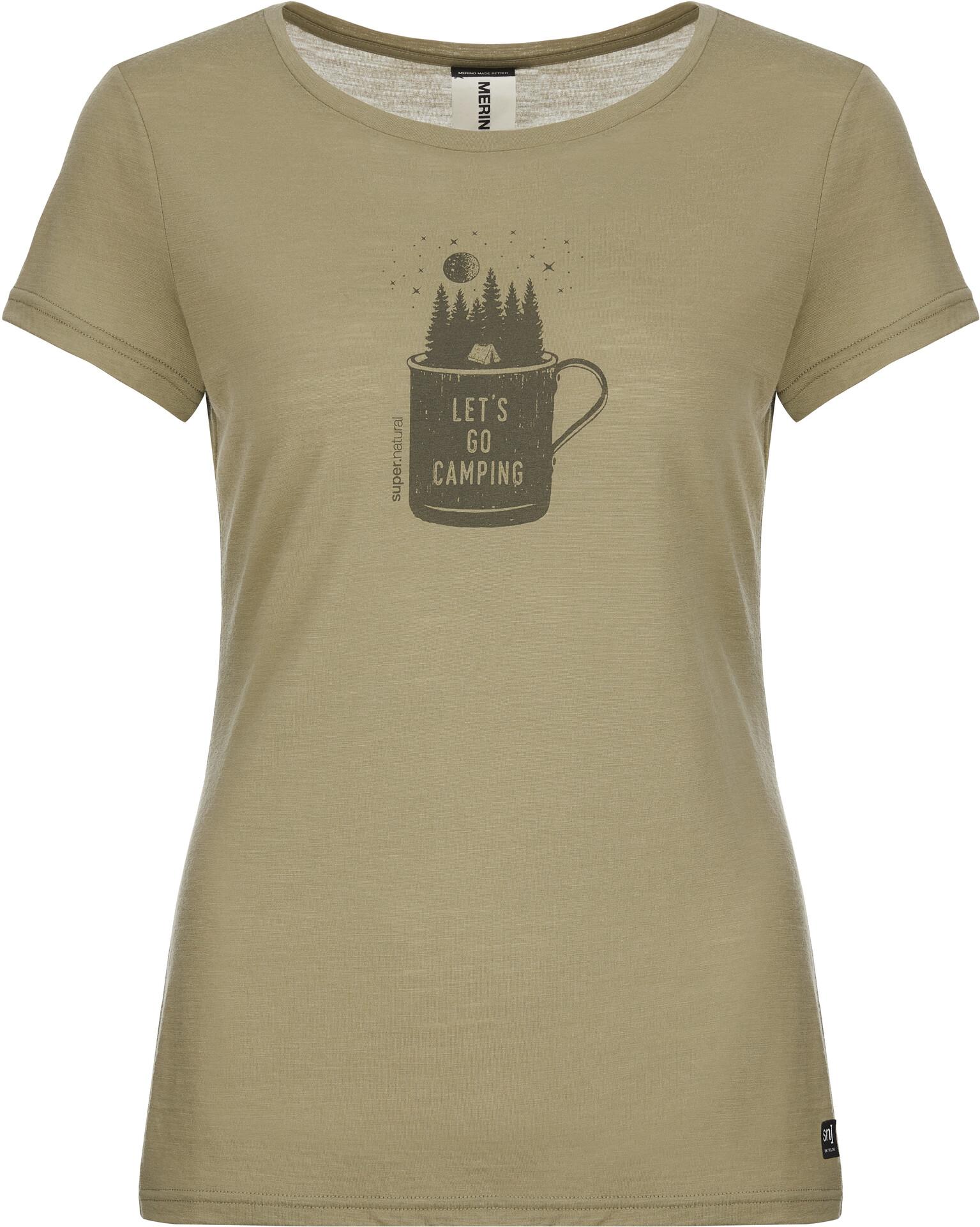 super.natural Print T shirt Damer, bambookiller khaki camper print